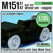 DW35038 Дополнение для моделей U.S M151 Jeep sagged wheel set (for Tamiya/Academy 1/35)