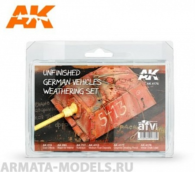 AK4176 Набор для везеринга UNFINISHED GERMAN VEHICLES WEATHERING SET