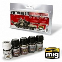 AMIG7147 Ammo Mig Набор для создания реалистичных эффектов MODERN RUSSIAN VEHICLES WEATHERING SET