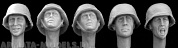 HGH03 5 heads, Ger. WW2 covered helmets