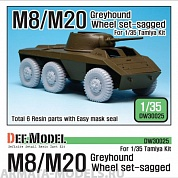 DW30025 Дополнение для моделей WW2 U.S. M8/M20 Greyhound Sagged Wheel set (for Tamiya 1/35)
